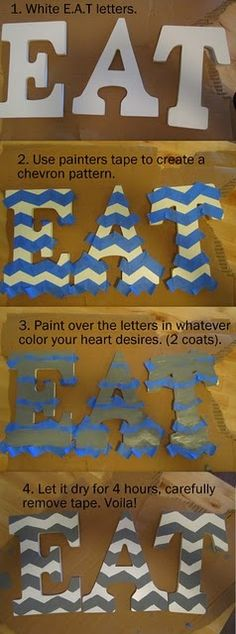 DIY chevron EAT letter, could do with initials or Greek letters!