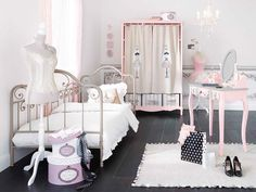 Furniture, Product, Room, Pink, Bed, Bedroom, Infant bed, Nursery, Interior design, Table, Shoe Storage Crates, Crate Storage, Tie Top Curtains, Boho Deco, Paris Mode, Kids Room Furniture, Princess Room, Little Girl Rooms, Ikea