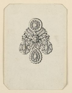 Jewelry design for an earring, a disk above and three drops below. The disk is seemingly the central motif of a bunch, consisting besides it of two flower stems and four scrolls of ribbon, the whole being fastened by a rosette. Lc Jewelry, Jewelry Scale, Small Jewelry Box, Luxury Jewelry, Septum Jewelry, Pandora Jewelry, Jewelry Gifts, Jewelery, Women Jewelry
