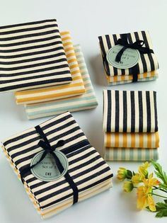 Striped Heavyweight Dishcloths and Kitchen Towels(Sets of 3)
