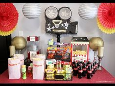 Movie Party - YouTube video - these movie night party ideas would be great for a kids birthday, a slumber party, a movie premier or just a night of family fun! Fun ideas for party decorations, snacks, candy concession stand, favors and more!