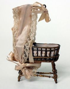 All Original Antique Miniature Doll Crib