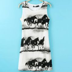 Classical dresses personalized horses prints sleeveless for girls BD-X3789