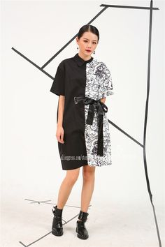 [Soonyour] 2017 Европа Летний новый Нерегулярные отпечатано Личность белый и черный с короткими рукавами длинные рубашки женщины мода 4CH1571 купить на AliExpress