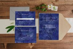 Paper Alphabet Wedding Invitations: This wedding invitation suite design features a simple serif font with a navy watercolour background. Unique Invitations, Printable Invitations, Baby Shower Invitations, Birthday Invitations, Watercolor Background, Watercolour, Alphabet Design, Serif Font, Wedding Invitation Design