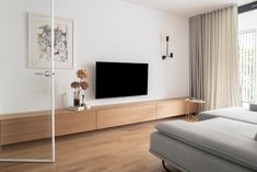 Photo 7 of 24 in Lady by idealist studio - Dwell Living Room Tv, Living Room Modern, Home And Living, Living Spaces, Living Room Designs, Bright Apartment, Apartment Interior, Furniture Layout, Home Decor Furniture