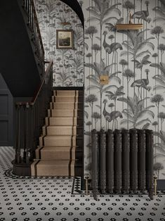 Crane Fonda 'Charcoal' Wallpaper – Divine Savages Savage Wallpapers, Times Property, Charcoal Wallpaper, Stunning Wallpapers, Soft Corals, Great British, Entrance Hall, Pattern Paper, Crane