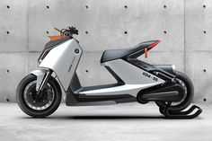 This BMW Motorrad e-scooter concept is all about clean aesthetics and clean energy Bmw Scooter, Electric Moped, Scooter Design, Concept Motorcycles, Bike Trailer, Mode Of Transport, Transportation Design, Automotive Design, Motor Car
