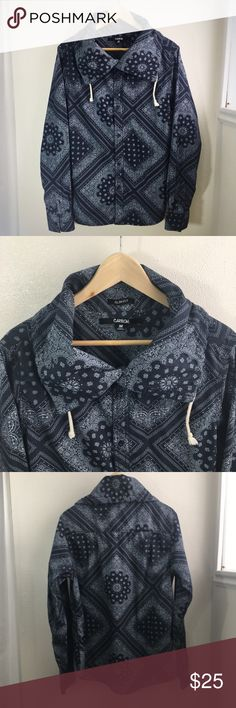 🆕 Listing!  Carbon Bandana Print Jacket Navy blue and white bandana print button up jacket.  In excellent condition.  Cute! Carbon Jackets & Coats Lightweight & Shirt Jackets