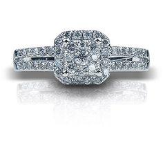 1/2 Carat T.W. Cushion Diamond 10kt White Gold Engagement Ring