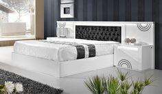Cama Sphere Wood Bed Design, Bedroom Bed Design, Bedroom Furniture Design, Bed Furniture, Bed Sets, Bed Designs With Storage, White Bedroom Set, Wood Beds, Small House Design