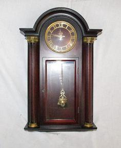 Grandfather CLOCK Bombay Company Wall Mahogany Chiming Pendulum Roman  Numerals #wall Clocks #contemporary Wall
