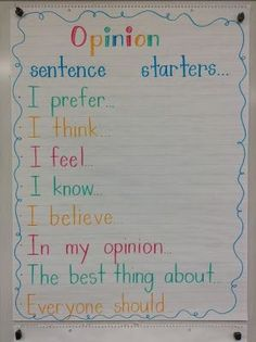 Anchor chart: Sentence starters for writing opinion pieces saved by @gregsmedley