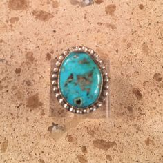 Navajo Sleeping Beauty Turquoise & Sterling Silver Ring Size 7
