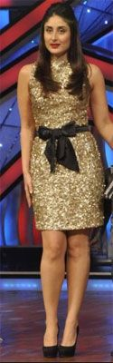 Kareena Kapoor looked radiant in a gold Atsu sequin dress, while promoting Heroine, on set of 'Dance Ke Superkids'. Down below, she accessorized with towering black Jimmy Choo pumps.