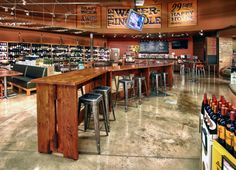 Stores are promoted as a community resource to meet other like-minded citizens.  Many stores now include a wine tasting area and a brewery bar.