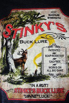 Deer Hunter Shirt Stinkys Buck Lure Novelty Mens Top Tee Gray Large L