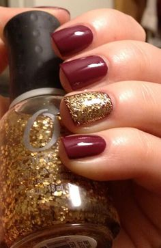 Cranberry With Gold Glitter Accent Nail