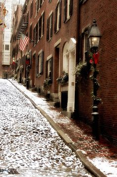 Winter on Acorn Street, Boston, MA | Flickr - Photo Sharing!