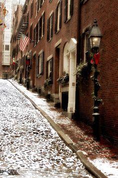 Winter on Acorn Street, Boston, MA   Flickr - Photo Sharing!