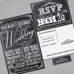 Chalkboard Wedding Invitations  with RSVP cards por InvitingMoments, $1.60