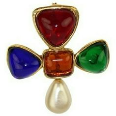 Gripoix Multicolor Brooch  BG-#3889003 Great for any night time party . CHANEL Jewelry Brooches