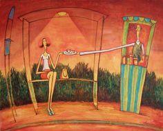 Autobusová zastávka, plátno 100 x 80 cm, Akryl / olej