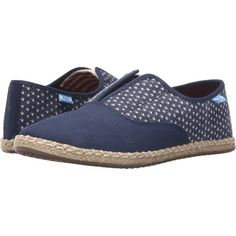 TOMS Palmera Slip-On (Americana Navy Canvas Stars) Women's Flat Shoes (40 NZD) ❤ liked on Polyvore featuring shoes, flats, blue, blue flat shoes, flat shoes, slip on shoes, slip-on shoes and slip on flats