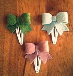 cute diy felt hair clip bows for toddler - hair ornaments, gift ideas