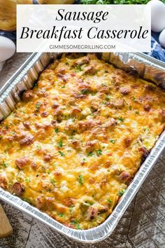 This delicious Sausage Breakfast Casserole is the perfect brunch recipe! This easy egg bake can be made on the grill or in the oven so you can have it no matter where you are! in oven Sausage Breakfast Casserole with hash browns, eggs, sausage! Breakfast Casserole Sausage, Breakfast Bake, Breakfast Dishes, Breakfast Recipes, Breakfast Ideas, Brunch Casserole, Egg Bake Casserole, Hash Brown Sausage Casserole, Baked Egg Casserole