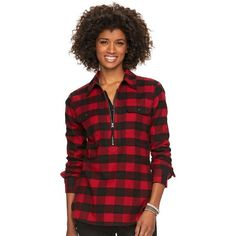 Women's Chaps 1/2-Zip Plaid Twill Shirt ($52) ❤ liked on Polyvore featuring tops, black, pocket shirts, shirt tops, long-sleeve shirt, tartan shirt and print top
