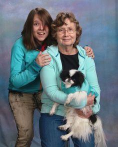 Gizmo with Mom and Grandma. We like teal!
