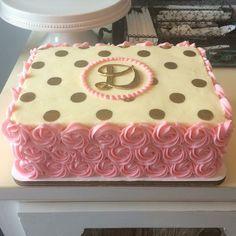 An adorable rosette and gold sheet cake buttercreamcakes atxbakery