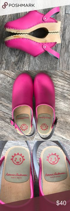69fd15f6bdb Hannah Anderson Hot Pink Leather Clogs Hannah Anderson Hot Pink Leather  Clogs. Great used condition