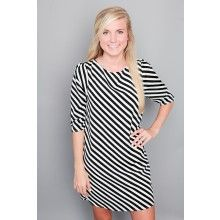 A Fine Line Dress-Black - $48.00  All this outfit needs is a yellow bib necklace!