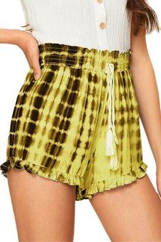 Womens New Trendy Drawstring Waist Tie Dye Ruffled Hem Loose Fit Pull On Shorts Loose Shorts, Hot Shorts, Hot Pants, Summer Shorts, Outfits Plus Size, Women's Plus Size Shorts, Plus Size Casual, Women's Casual, Looks Plus Size
