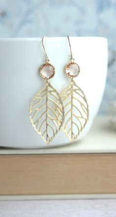 Peach Leaf Earrings. Light Peach, Champagne Blush Peach Gold Leaf Charm Dangle Earrings, Leaves Earring. Bridesmaids Gift. Peach Mod Wedding. By Marolsha