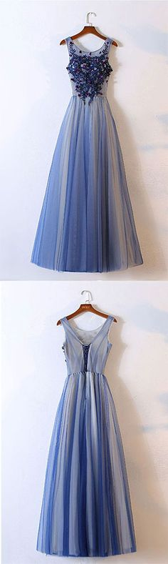 Elegant Prom Dress,Long Prom Dress,Appliques Prom Dresses,Blue Tulle Round Neck Long Prom Homecoming Dress,Tulle Evening Dress,Prom Dresses,FG67