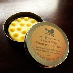 Love this Etsy shop! Urthtones is the BEST!   Lemon Drop Massage Lotion Bar with Organic Fair Trade Shea Butter /// Essential Oils of Jasmine, Grapefruit and Lemongrass.