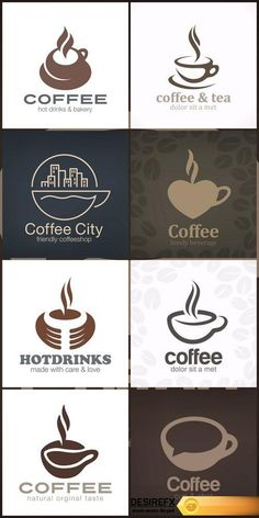 Cafe Coffee Tea Logo design vector template 8X EPS http://www.desirefx.me/cafe-coffee-tea-logo-design-vector-template-8x-eps/