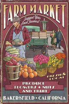 Bakersfield, California - Farmers Market - Lantern Press Artwork