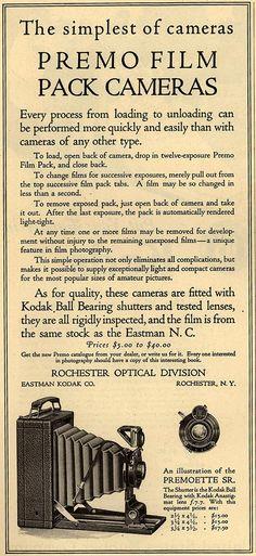 1917 American Magazine. Premo Film Pack cameras.