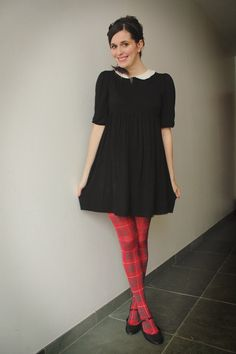 Peter+Pan+Collar+and+Tartan+Tights