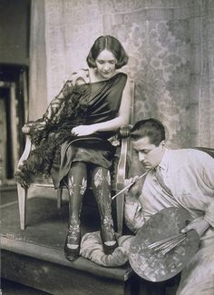 Painted stockings, c1920 (John Graudenz).  Well, you'd never get a run in them!