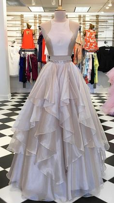 2018 two piece long prom dress, champagne long prom dress,  princess two piece champagne long graduation dress