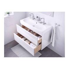 GODMORGON / BRÅVIKEN Sink cabinet with 2 drawers, high gloss white high gloss white 39 3/8x19 1/4x26 3/4