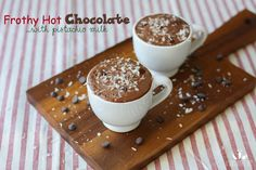 Frothy hot chocolate with pistachio milk | www.veggiesdontbite.com | #vegan #plantbased #glutenfree