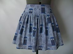 Blue TARDIS Skirt by ComplementsByJo on Etsy https://www.etsy.com/listing/164051201/blue-tardis-skirt