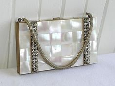 Antique Mother of Pearl Cigarette Makeup Case Compact Metal Clutch Purse Jeweled