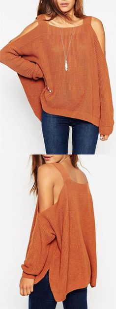 Light Brwon Cold Shoulder Long Sleeve Side Split Jumper